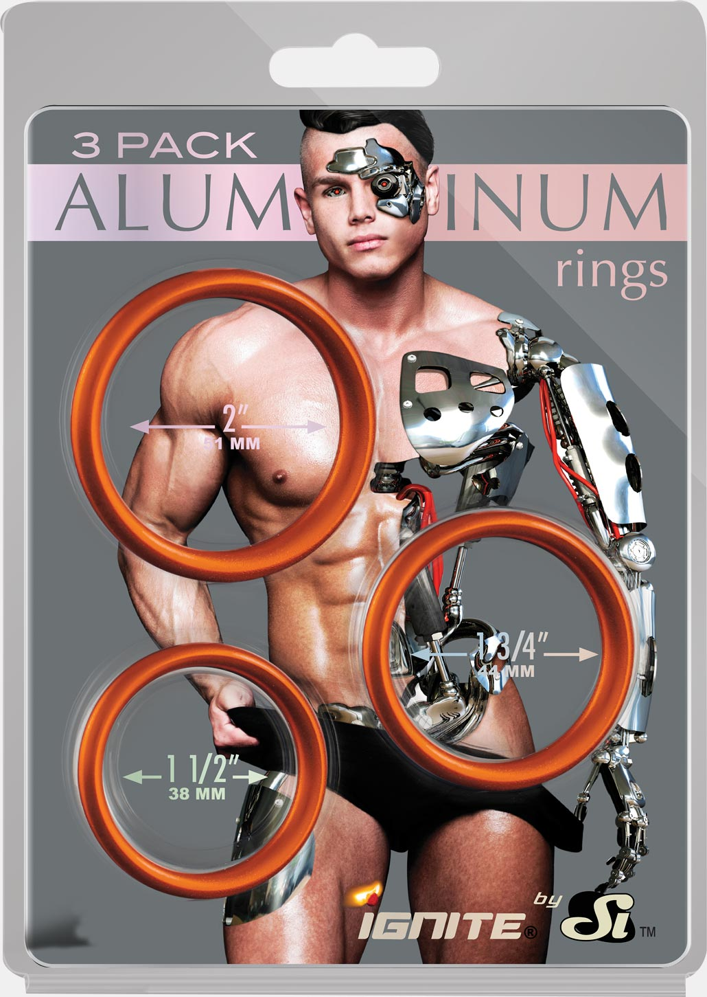 Aluminum Rings 3 Pack - Rust - 50, 45, 40 mm. (1.5, 1.75, 2.