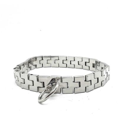 Stainless Steel Watch Band Collar With Gem Lock